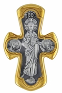 The Christ and Virgin Mary, Sterling Silver, Gold Plated Reversible Cross