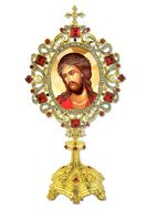 The Christ Crowned with Thorns Icon in Pearl Jeweled Shrine - Monstrance Style