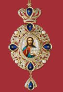 Christ The Teacher, Panagia Style Icon Ornament / Blue Crystals
