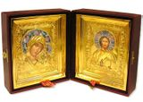 The Christ / The Virgin of Kazan, Set of Wedding Icons,  Enameled, Gold Plated with Glass in Leather Case