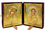 The Christ / The Virgin of Kazan Wedding Icons Set, Gold Plated, Leather Case