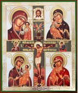The Crucifixion with 4 Icons of The Virgin Mary, Orthodox Icon