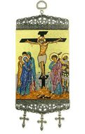 """The Crucifixion, Tapestry Icon Banner, ~10"""" H"""