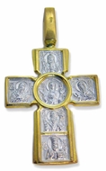 The Crucifixion & Virgin Emanuel, Sterling Silver, Gold Finish Reversible Cross