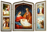 The  Holy Family and Nativity of Christ, Orthodox Triptych Icon