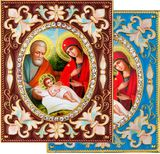 The Holy Family, Enameled Framed Icon Pendant with Stand