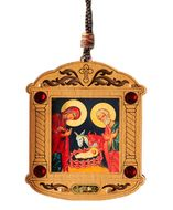 The Holy Family, Wooden Icon Shrine Pendant Ornament on Rope