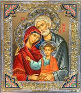 The Holy Family, Serigraph Icon in Silver / Gold Plated Riza with Crystals