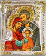 The Holy Family,  Serigraph Icon in Silver / Gold Plated Oklad