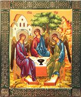 The Holy Trinity,  Embossed Printing on Wood, Gold Foil Orthodox  Icon