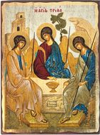 The Holy Trinity, Greek Serigraph Orthodox Icon