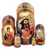 """The Nativity, 5 Nesting Icon Doll, Hand Painted, 7"""""""