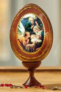 Angel Adoration Holy Family, Wooden Icon Egg on Stand Holder