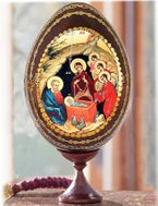 The Nativity - Holy Family, Wooden Decoupage Icon Egg on Stand Holder