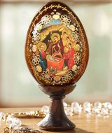 The Nativity, Wooden Icon Egg with Stand