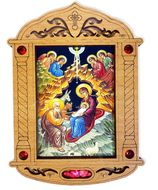 The Nativity of Christ Icon in Wooden Shrine with Glass and Incense