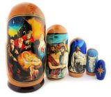 Nativity of Christ,  5 Nesting Icon Doll, 7""