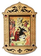 Nativity of Christ Icon in Wooden Shrine with Glass