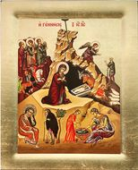 Nativity  of Christ, Serigraph Orthodox Icon with Stand