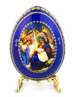 The Nativity, Cobalt Blue Wooden Icon Egg with Stand