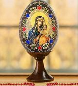 Virgin Mary Eternal Bloom, Wooden Icon Egg with Stand