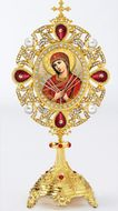 "Virgin Mary ""Seven Swords"" Icon in Pearl Jeweled Shrine - Monstrance Style"
