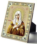 Virgin Mary Extreme Humility  (UMILENIE), Embossed Icon Printed on Leather