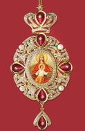 "Virgin Mary icon ""Reigning"", Panagia Style Icon Ornament / Red Crystals"