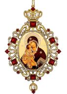 Virgin of Don,  Panagia Style Icon Ornament / Red Crystals