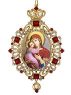 Virgin of Vladimir,  Panagia Style Icon Ornament / Red Crystals