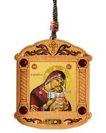 Virgin Mary Sweet Kissing, Wooden Icon Shrine Pendant  on Rope