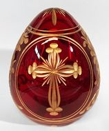 Faberge Style Crystal Egg with Cross and Doves, Burgundy