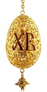 Three Barred Cross &  XB, Gold Gilded Easter Egg