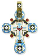 Traditional  Russian Enameled Cross,  Sterling Silver 925, Gold Plated