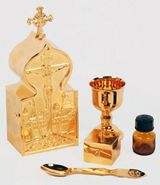 Travel Tabernakle, Communion Set, Gold Plated