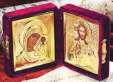 Traveling Wedding Icon Diptych in Velvet Case, Small