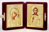 Travel or Wedding Icon Diptych in Velvet Case, Small