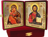 Traveling Wedding Icon Diptych  in Velvet Case, Large
