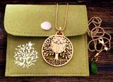 """Tree of Life""  Pendant with the Holy Cross,  Jade Charm and Chain, Brass"