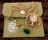 "Madonna and Child ""Tree of Life"" Pendant, Jade Charm and Chain, Brass"