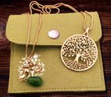 """Tree of Life""  Pendant with Jade Charm and Chain, Brass"