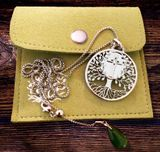 """Tree of Life""  Pendant with the Holy Cross,  Jade Charm and Chain, Stainless Steel"