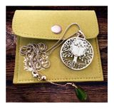 -Tree of Life-  Pendant with the Holy Cross,  Jade Charm and Chain, Stainless Steel