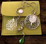 "Madonna and ""Tree of Life"" Pendant, Jade Charm and Chain, Stainless Steel"