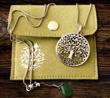 """Tree of Life""  Pendant with Jade Charm and Chain, Stainless Steel"