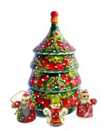 Christmas Wooden Tree with 3 Ornaments, Hand Made