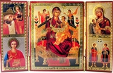"Triptych Virgin Mary ""Queen Of All"" & 4 More Orthodox Icons"