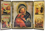 Triptych Virgin of Vladimir with the Scenes of Virgin Mary's Life