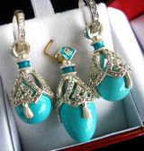 Turquoise Set of Earrings with Egg Pendant,  Sterling Silver, Swarovsky Crystals