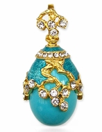 Turquoise Sterling Silver Egg Pendant , Swarovsky Crystals, 24KT Gold Plated